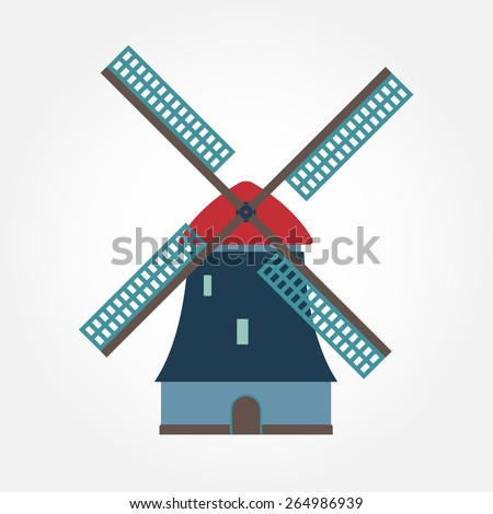 Windmill icon or sign isolated on white background. Mill symbol. Colorful vector illustration. - stock vector