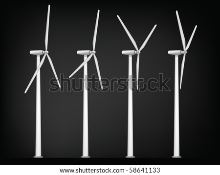 Windmill Isolated on White Background. Vector. - stock vector