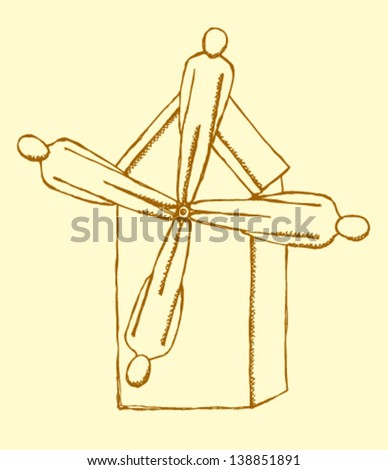 Windmill made of human, vector sketch illustration - stock vector