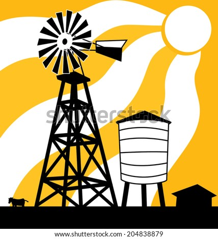 Windmill on a farm showing through a sunset or sunrise - stock vector