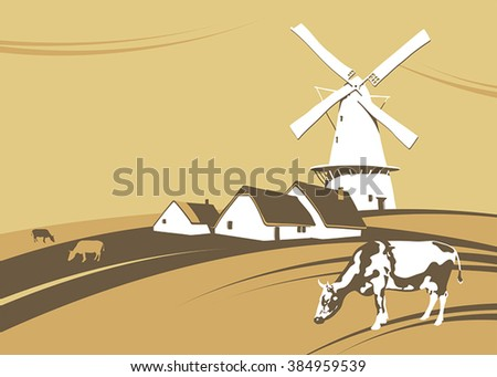 Windmill on the background of natural landscape - stock vector