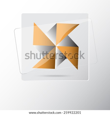 Windmill origami button with reflection - stock vector