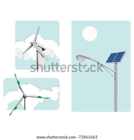 Windmill power and solar energy, environmentally safe - stock vector