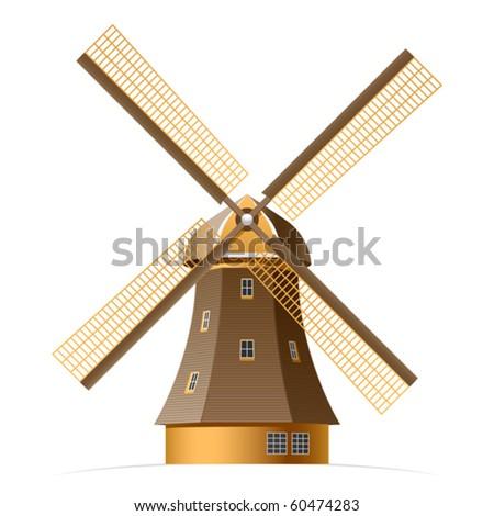 Windmill. Vector. - stock vector