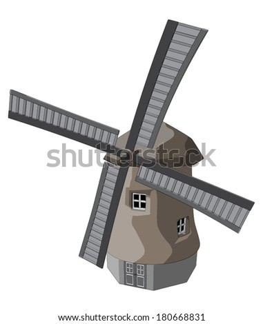 Windmill -  Vector Artwork (isolated on white background). - stock vector