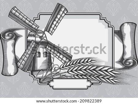 Windmill & wheat/retro-styled emblem - stock vector