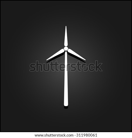 Windmill. White flat simple vector icon with shadow on a black background - stock vector