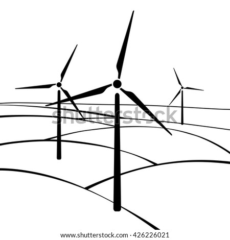 Windmills, alternative and renewable energy supply source. Icon of windmills and wind energy. Vector Illustration - stock vector