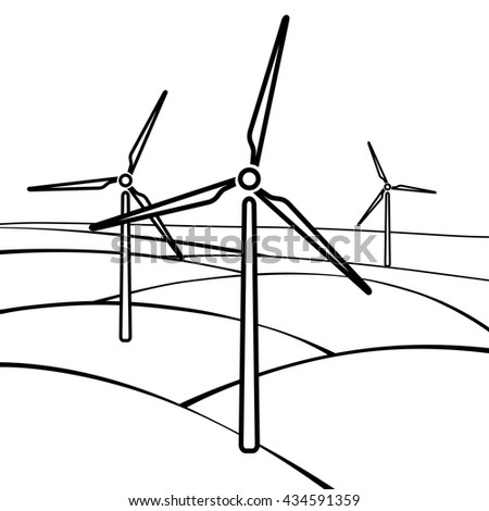 Windmills, alternative and renewable energy supply source. Line icon of windmills and wind energy. Vector Illustration - stock vector