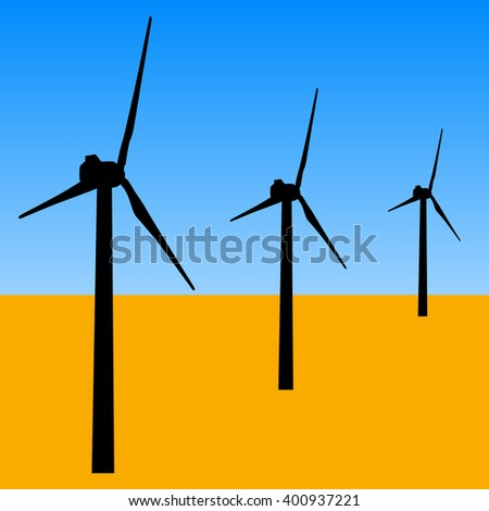 windmills for electric power production.  vector illustration - stock vector