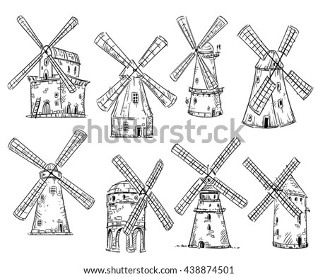 Windmills, vector drawing, EPS 10 format, fully editable - stock vector