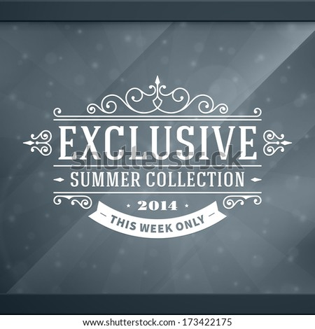 Window advertising exclusive decals graphics. Vector design elements set. Discount sale sign.  - stock vector