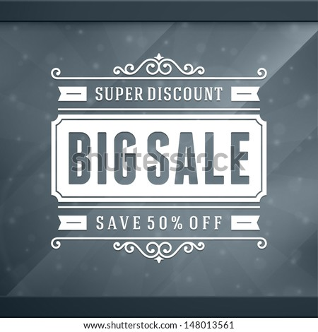Window advertising sale 50% off decals graphics. Vector design elements set. Discount sale sign.  - stock vector