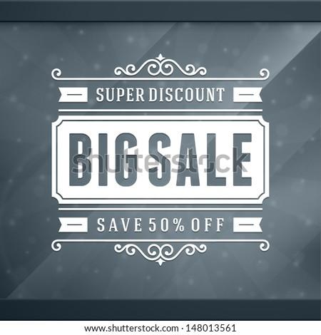 Window advertising sale 50% off decals graphics. Vector design elements set. Discount sale sign.