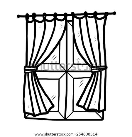 Window curtain cartoon vector illustration black stock vector hd window and curtain cartoon vector and illustration black and white hand drawn thecheapjerseys Images