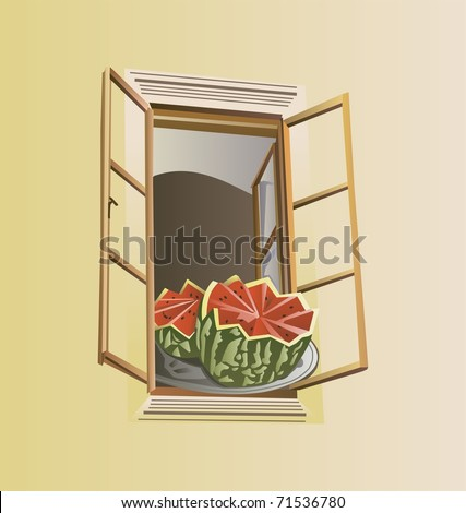 Window and water-melon - stock vector