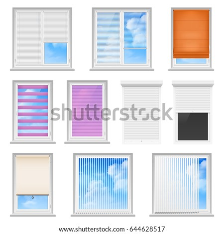 Window Blinds Colored Flat Set For Office And Creative Home Interior Isolated On White Background Vector