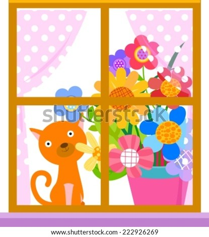 Window,cat and flower - stock vector