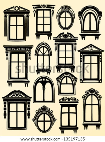 Window collection - stock vector
