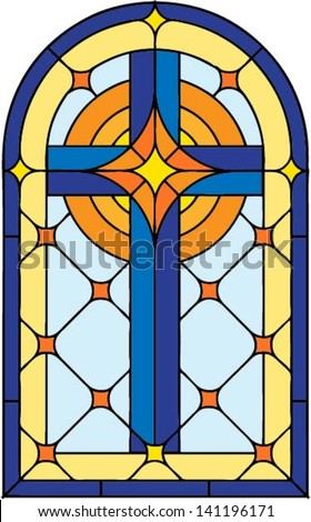 Window cross , vector illustration in stained glass style - stock vector