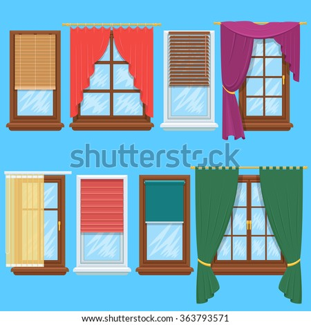 Window curtains and blinds set. Jalousie for house or creative home interior, vector illustration - stock vector