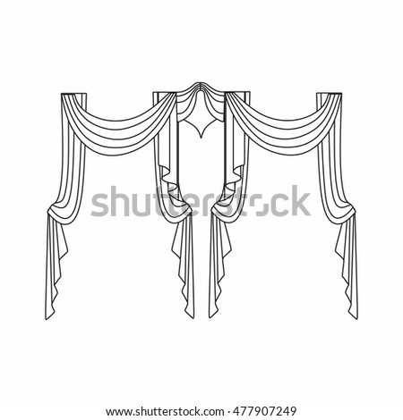 Window curtains.curtains Interior design sketch