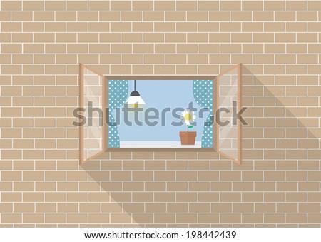 Window frame on brick background, VECTOR, EPS10 - stock vector