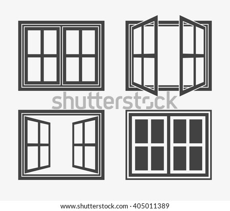 Window Icon in trendy flat style isolated on grey background. Window symbol set for your web site design, logo, app, UI. Vector illustration, EPS10. - stock vector