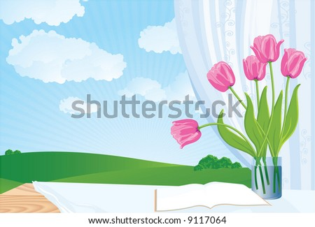 Window in spring. Vector background. - stock vector
