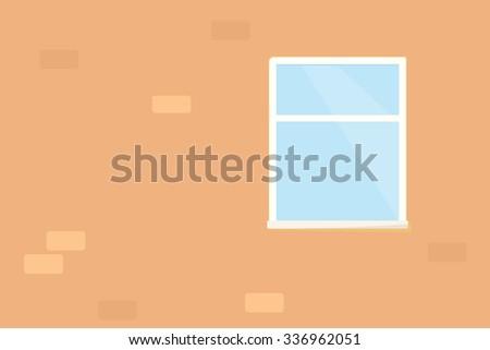 Window on brick wall - stock vector