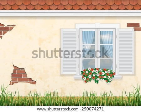 window on the background of the old wall of the house - stock vector