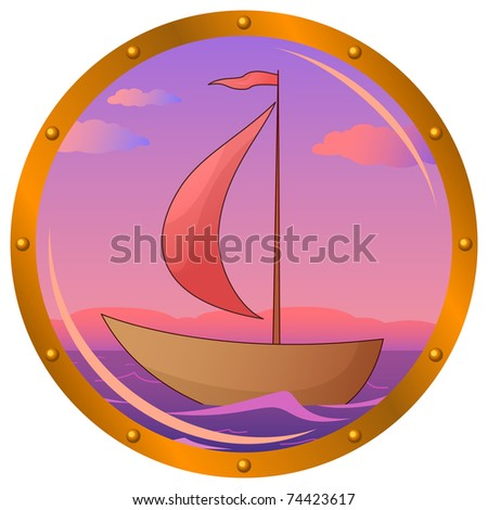Window porthole with the ship floating on the sea in the morning on sunrise - stock vector