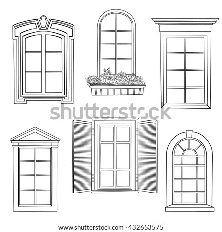 Stock images similar to id 21660322 five window for Window design sketch