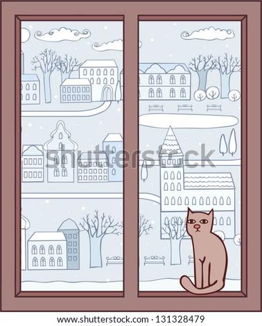 window to the winter city - stock vector