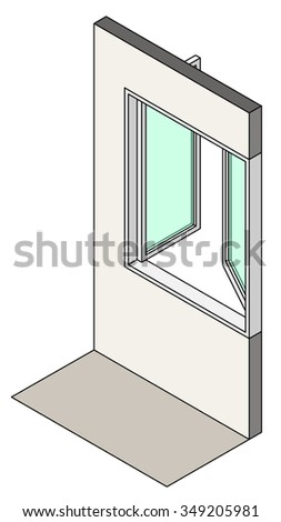 Window type / construction: Double horizontal pivot / swing casement window shown installed in a wall. - stock vector