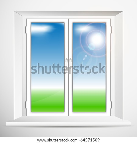 Window with a spring landscape. Vector.
