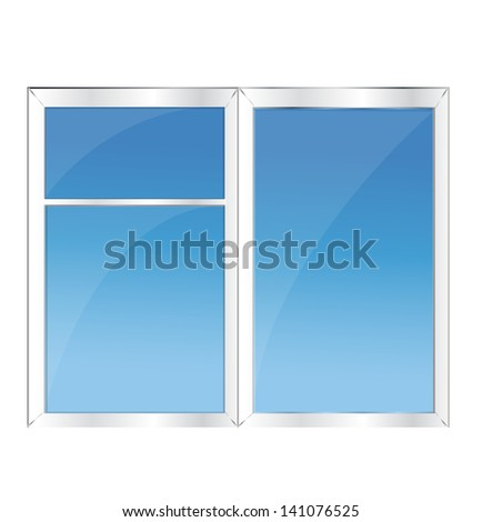 Window with blue sky - stock vector