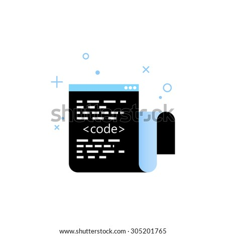 Window with code. Vector illustration. Coding process - stock vector