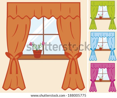 window with curtain and flower in pot - stock vector