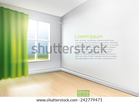 Window with green curtains in light room with wooden floor. Vector graphic - stock vector
