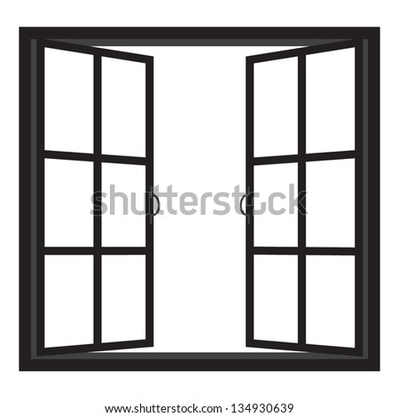 windows-half open window vector - stock vector