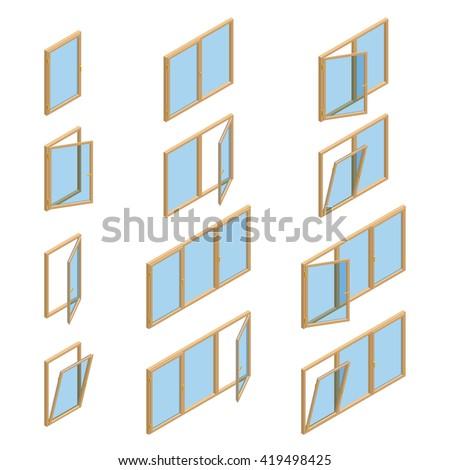 windows, Open window, Window exterior use, Window vector, Window illustration, Window icon web, Window Eps10, various windows types, Window isometric, window frame, house window, Modern window - stock vector