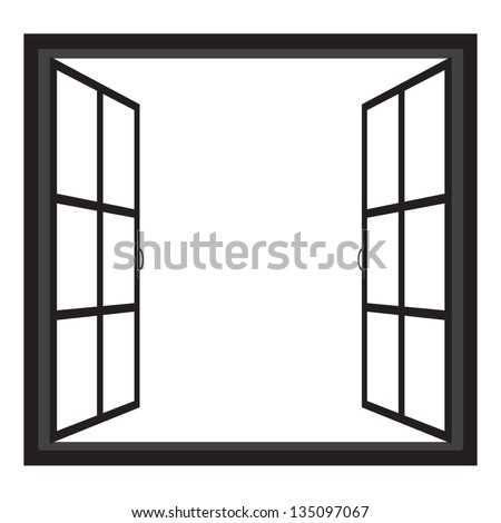 Windowswide open window silhouette vector stock vector for Window design clipart