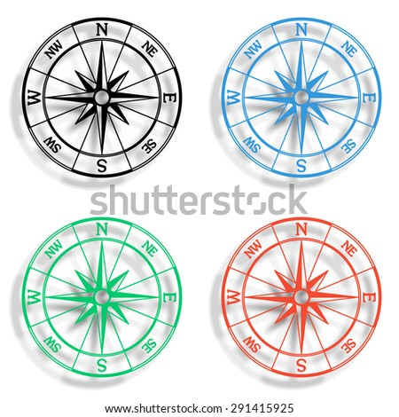 windrose compass icon with shadow - colored vector set - stock vector