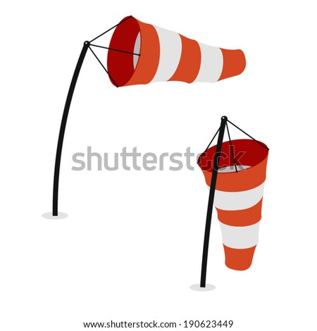Windsocks inflated by wind and hanging at the airport runway - stock vector