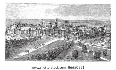 Windsor Castle in Windsor, Berkshire, England, during the 1890s, vintage engraving. Old engraved illustration of Windsor Castle. Trousset encyclopedia (1886 - 1891). - stock vector