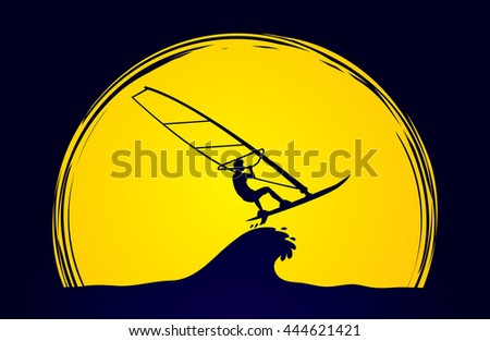 Windsurfing designed on moonlight background graphic vector.