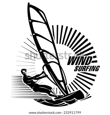 Windsurfing. Vector illustration in the engraving style - stock vector