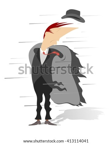 Windy day. Strong wind has opened coat and blown off hat of the man  - stock vector