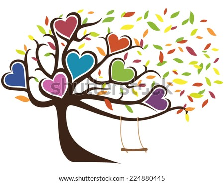 Windy Fall Family Tree with Swing Holding Seven Hearts - stock vector